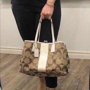 Signature Coach Handbag with Beige Leather Straps